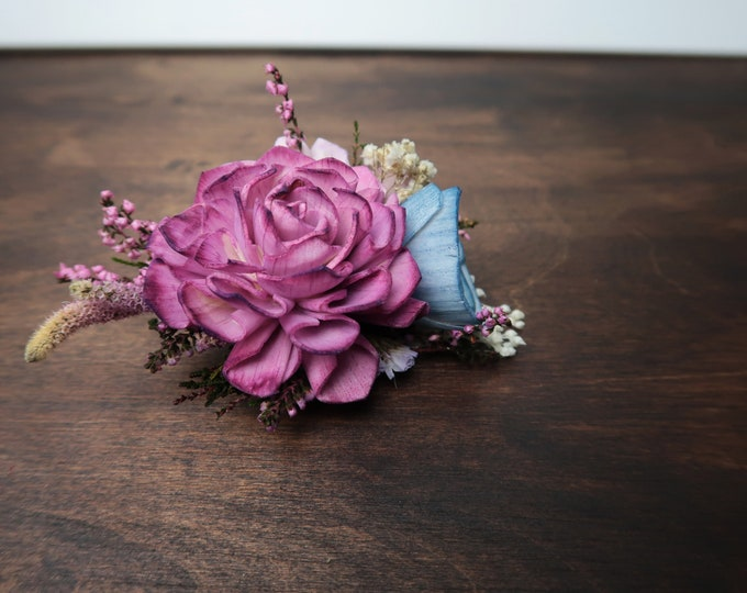 Floral brooch sola flower Pastel mother corsage purple ivory blue lavender preserved real heather spring romantic wedding field flowers
