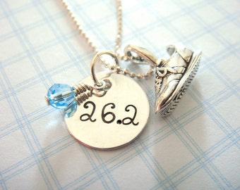 Runner Necklace with Hand Stamped Personalized Disc // Runner Charm // Sneaker Charm // gifts for runners // marathon jewelry