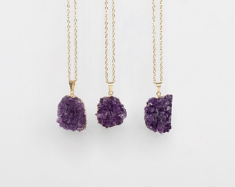 Amethyst Necklace / gold plated amethyst druzy cluster