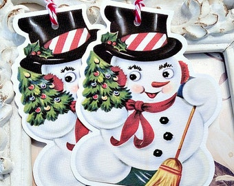 Retro Snowman Tags (6) Christmas Gift Tags-Snowman Gift Tags-Treat Tags-Christmas Favor Tag-Snowman Favor Tags-Christmas Snowman Die Cut