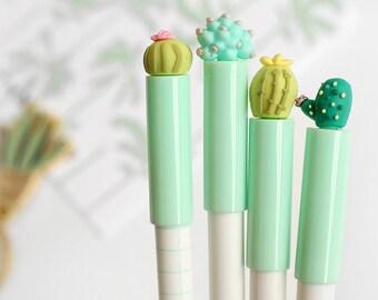 Cute Succulent Pens / Kawaii Pens / Cute Pens / Gel Ink Pens / Cute School Supplies / Cute Cactus Pens / Cute Stationery / Cute Stationary