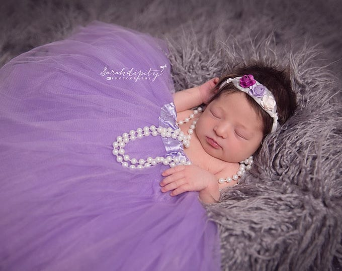 Mulberry Flower Headband on a Tieback made of silk, perfect for all ages, bridesmaid, bride, newborn, by Lil Miss Sweet