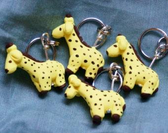 Giraffe Polymer Clay Stitch Markers (herd of 4)