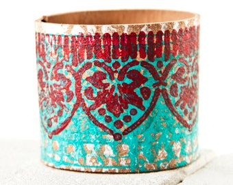 Unique Presents  Coral Turquoise Cuff Bracelet - Red Turquoise Teal Jewelry