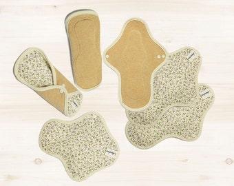 6 Organic cloth pads set / Washable Cotton Cloth Menstrual Pads set / Cloth pads start set - 3 Light day pads & 3 Regular pads (Purple erin)