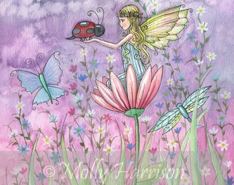 Fairy Print - Little Fairy with Ladybug and Butterflies by Molly Harrison 8 x 10