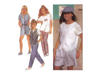 Simplicity 8386, 90s sewing pattern, size 12-14 girl's pants, shorts, T-shirt, lined vest pattern
