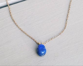 Ethreal Essence- Blue Agate and Solid Brass Necklace