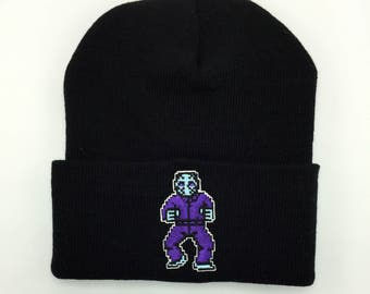 Friday the 13th Nintendo Video Game Beanie Embroidery Hat Jason Voorhees Jason Mask Video Game Hat Video Game Embroidery Friday the 13th Hat