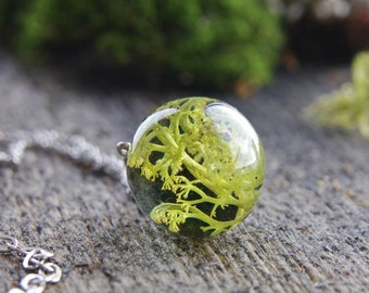 Resin Necklace ⇷18mm⇸ Woodland jewelry | Reindeer Lichen necklace | woodland creations | Your own forest whimsical piece of nature in resin