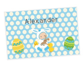 Easter Personalized Placemat - Easter Baby Boy Eggs Blue Polka Dots with Name, Customized Laminated Placemat