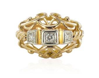 Bague vintage fils d'or rose diamants Or rose 18K Vintage