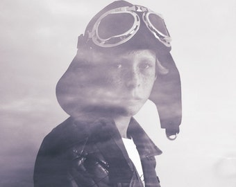 """Fine Art Composited Print """"Flights of Fancy"""" of a boy immersed in his dreaming of aviation"""