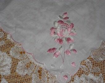 3 white hankies, handkerchief, rose embroidery