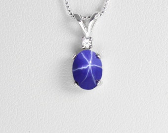 Natural black star sapphire pendant 14k solid yellow gold blue star sapphire necklace silver cornflower blue star sapphire sterling silver necklace pendant mozeypictures Choice Image