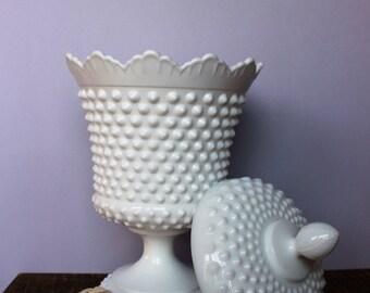 Rare Fenton Hobnail Milk Glass Urn
