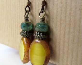 Golden Yellow and Blue Czech Glass Beaded Niobium Earrings