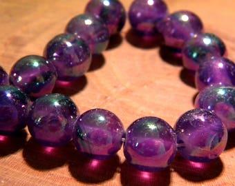 5 glass beads plated translucent AB - rainbow effect - 10 mm-purple-PF139-6