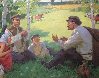 "Original picture of the USSR by Lopukhov Alexander Mikhailovich (1925 - 2009) ""Conversation"" 1960s"