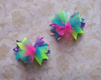 NEW Item---ULTRA MINI Over the Top Bows---Set of 2----Funky Brights---Pink, Neon Green, Turquoise, and Purple----3 inches