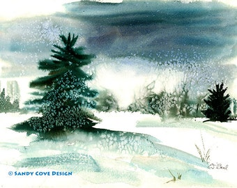 Snow Flakes, Print from Watercolor by E.S. Beal, Winter, Bridgton, Maine, Snow, Trees, Fine Art, Wall Art
