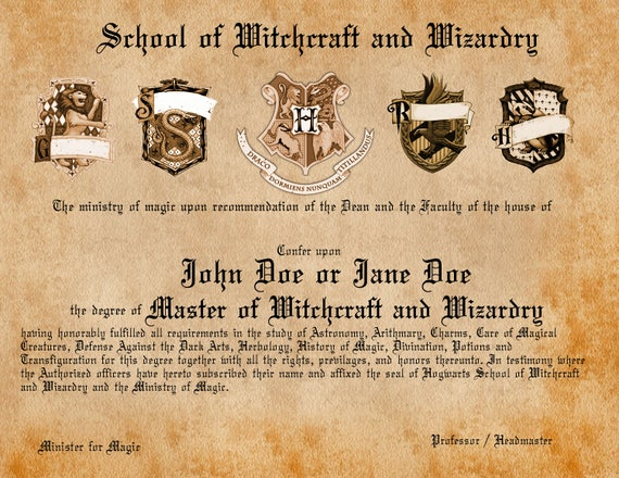 Personalized wizard diploma acceptanceinvite letter yadclub Image collections