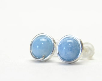 Aquamarine Stud Earrings - Handmade Wire Wrapped, Sterling Silver, Aqua Blue Gemstone Studs - March Birthstone Jewelry