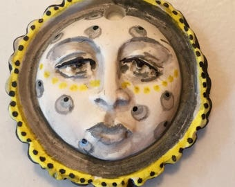 Handmade clay face moon beam spirit mustache   jewelry craft supplies handmade cabochon girl woman doll supply mosaic