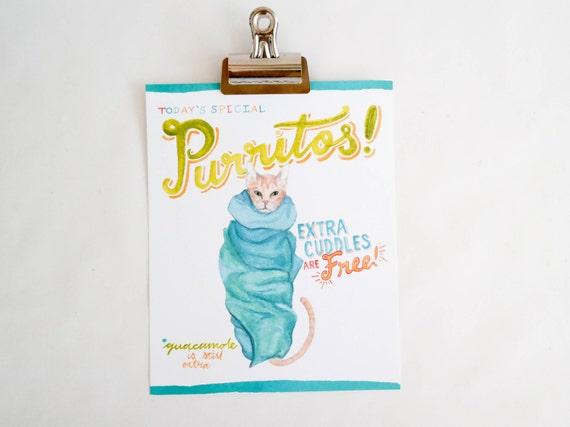 Purritos! art print of an original watercolor illustration