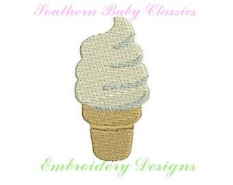 Soft Serve Ice Cream Cone  Design Mini File for Embroidery Machine Monogram Add On Instant Download Icecream