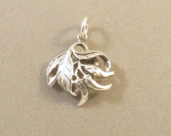 CHILI PEPPERS .925 Sterling Silver 3-D Charm Pendant Vegetable Food Southwest Red Bunch Vine Garden Mexico New kt129