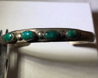 1950's-60s Navajo Morenci Turquoise five stone cuff coun to Sterling