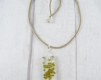 Aibrean // Resin Pendant with Small Flowers on Beige Faux Suede Cord | OOAK |  Resin Jewellery | Handmade Resin Pendant