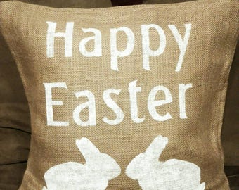 Burlap Easter Pillow, Easter Pillow, Happy Easter Pillow, Easter Decor, Rabbit Pillow, Easter Bunny Pillow, Burlap Pillow, Spring Pillow