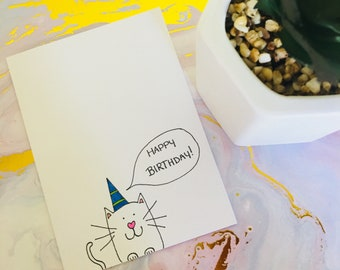 Hand drawn doodle cat birthday card