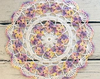 """Crocheted White Yellow Lavender Pink Variegated Table Topper Doily - 10 1/2"""""""