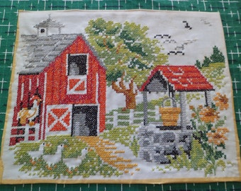 """Vintage Cross Stitch Embroidery PictureWall Hanging 14"""" x 11"""" Red Barn Farm Scene Chickens/Ducks"""