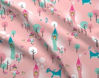 Girls Fairytale Fabric - Dragon Girl (Aka Rapunzel) By Zesti - Pink Baby Girl Nursery Decor Cotton Fabric By The Yard With Spoonflower