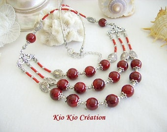 Necklace, crew neck, 3 rows, ethnic, red glass Pearl Burgundy, Pearl, Tibetan silver triangle chandelier, whimsical jewelry, women's fashion