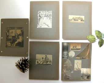 5 Heavy Antique Cardboard Collages, Handmade at turn of century, Hunter, Boats, Train Car Scene, House, Army, Journal Covers