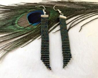 Beaded earrings, raindow beaded earrings, Long earrings, Elegant earrings, Rainbow green earrings, Gift for her, Drop earrings, Dangle