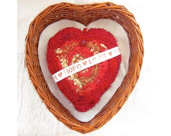 Silk Heart w/ Message - Embellished Handmade Silk Tapestry Heart Ornament - Unique Valentine's Day, Mother's Day, Wedding Anniversary Gift