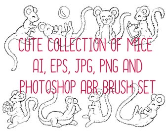 Cute Collection of Eight Hand Drawn Mice ABR Brushes, AI, EPS, Jpeg, PnG!
