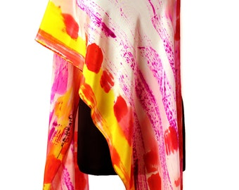 Abstract Hand Painted Silk Scarf/Hand Painted Shawl/Painting silk Scarf/Woman Accessory/Luxury Silk Scarf/Long scarf/Woman Gift/S0048