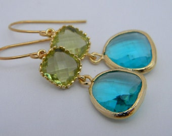Peridot Earrings - Sea Green Dangle Earrings Trimmed in Gold Bride - Drop Earrings - Bridal-Wedding - Bridesmaid Gift - Black Friday Etsy