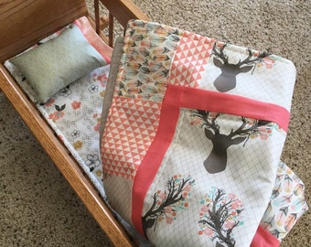 Doll Cradle Bed Bedding - You Choose Colors