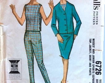 Vintage 1960 Pattern | Sports Separates: Top, Jacket, Skirt and Pants | Size 12, Bust 32"