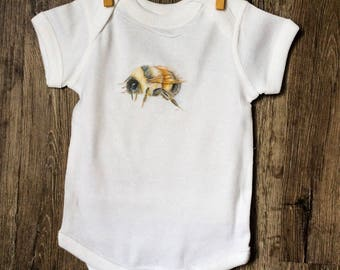 Honey Bee 100% cotton onesie featuring Emma Pyle Art | Bee Keepers | baby boy | baby girl | baby shower