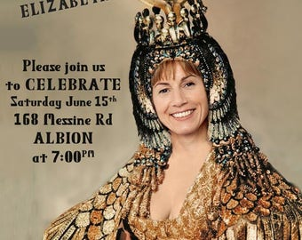 Woman's 40th Birthday Party Invitation, created with your photo, Cleopatra invitation, Egyptian theme birthday invitation, female 30th,50th