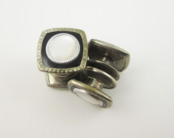 Art Deco Snap Cufflinks Black with Mother of Pearl Snapper Cuff Links, 1930s Men's Jewelry Wedding Cufflinks, Accessories